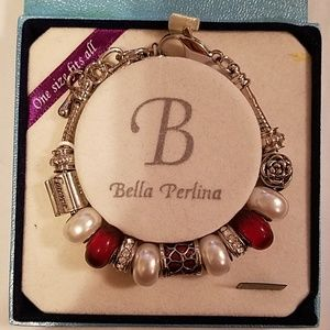 Bella Perlina red and silver charm bracelet
